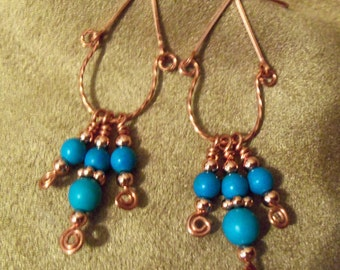 Turquoise Earrings Made With Copper