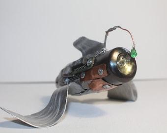 Flying Fish; Original Handcrafted, Steampunk, Metal Sculpture