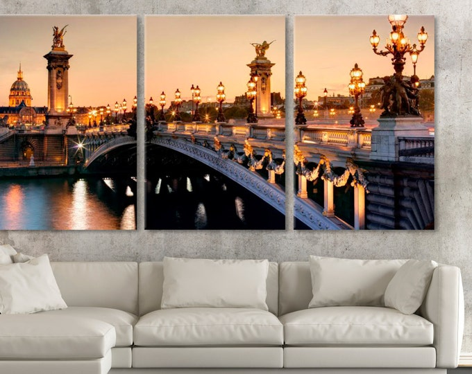 Paris France Bridge Photo canvas wall art, Paris Bridge Wall Art, Paris City Streets Photo, Alexander Bridge, Pont Alexandre Photography