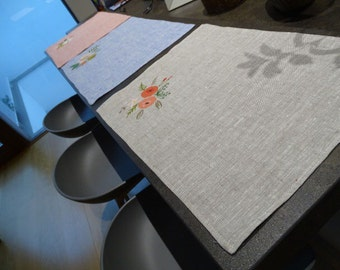 Hand-painted linen placemat