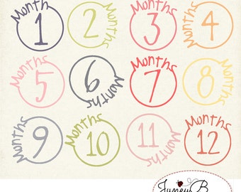 Numbered Month Stamps, Girly Colors Clipart Set, Instant Download, Digital Scrapbook Kit
