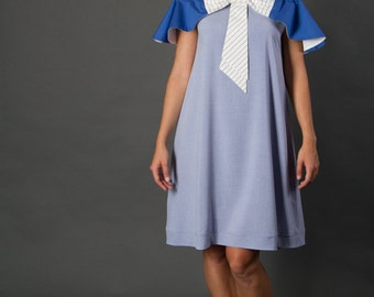 Blue dress with a bow, marine/vintage