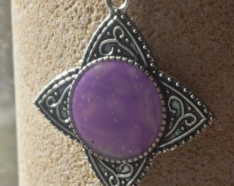 purple marble polymer clay necklace