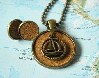 "Set necklace + earrings Cork ""Ship ahoy!"""