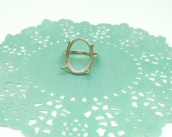 "Solid 925 Sterling Silver Ring Setting, Size 7.25, Oval 4 Prong Ring, Statement Ring Setting, 1/2 x 9/16"" Setting, Vintage Style Ring,PC5835"