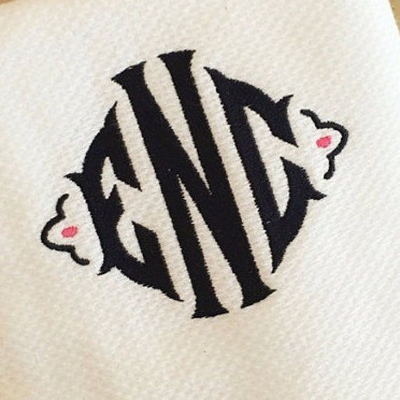 Lauren monogram embroidery font inches from