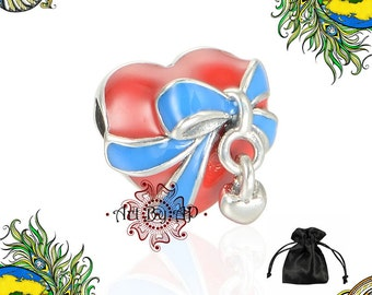 S925 Sterling Silver, Gift, Ribbon, Red Heart Charm, Red, Blue, fit Pandora