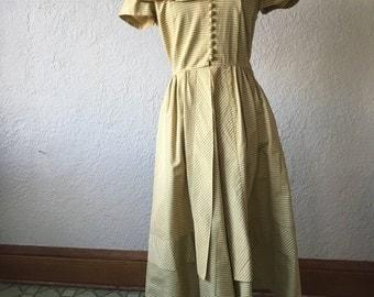 1950s yellow sateen party dress // Small Medium // plaid voluminous structured skirt