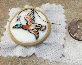 Dollhouse Miniature embroidery hoop with duck