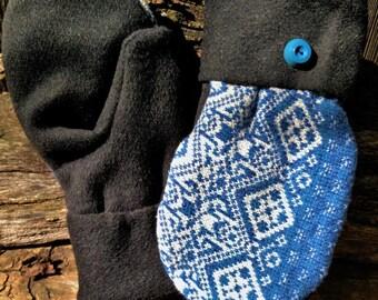 Handmade Blue Patterned Wool Mittens