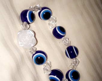 Evil Eye protection with white Rose