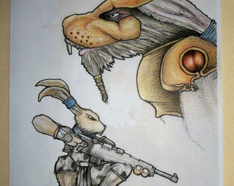 Mad Planet Warrior Hares - Hand Coloured and inked Print