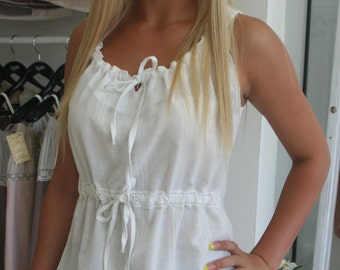 Summer blouse, Summer top, White blouse