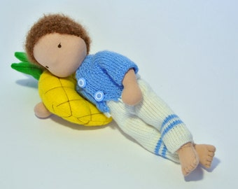 Gilfred, Waldorf inspired boy doll, 30cm (11.8 inches) high, including 2 sets of knitted clothing