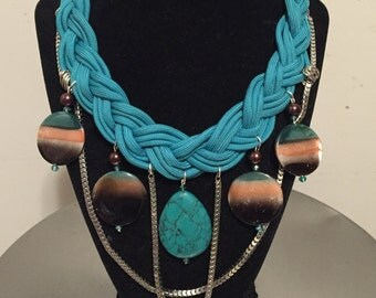 Braided turquoise necklace