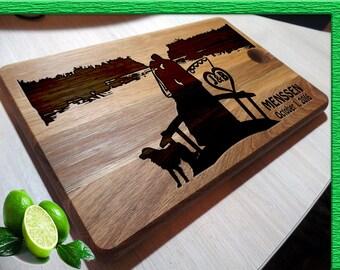 fishing cutting board cutting boards handmade Cutting Board with dog Wedding Gift Cutting Board Wedding Gift L2-03-007