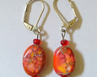 red-orange earrings