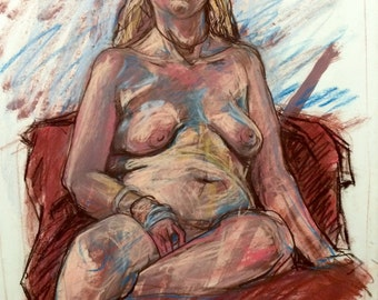Original Pastel Drawing of Seated Female Model
