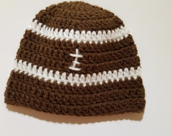 crocheted baby football hat