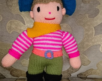 Pirate hand knitted doll