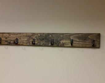 Rustic Wall Coat Rack, Reclaimed Wood