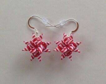 Moravian Star Earrings—Red/White