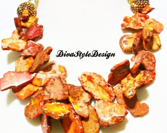 Orange Jasper Nest Statement Necklace