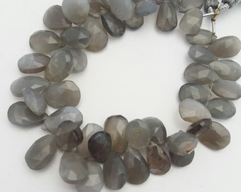 Amazing quality faceted GREY MOONSTONE in pear shape     Size----7x12mm to 9x15mm    8 inch strand approx