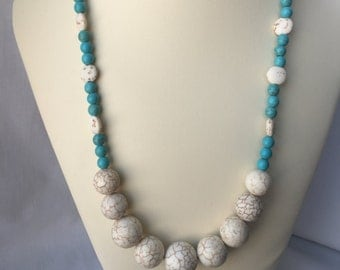White and Turquoise Magnesite Beaded Necklace with Lobster Claw Clasp