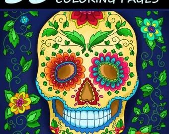 Adult Coloring Book: 30 Day of the Dead Coloring Pages (Día de los Muertos, Skulls)