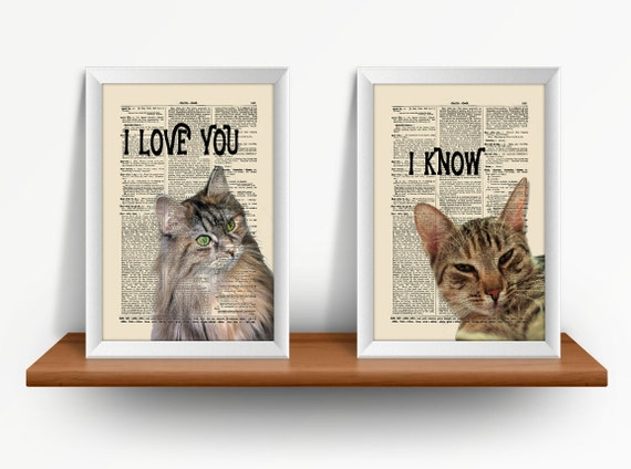 Cats In Love, 2 Print Set, I Love You, I Know, Mixed Media Print On Vintage Dictionary Page