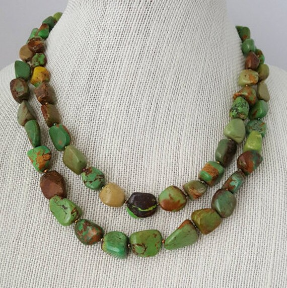 Double strand natural green turquoise nugget necklace