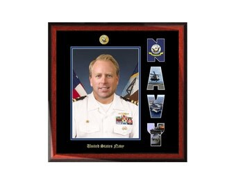 Navy Picture Frame with Naval Collage Letter Military Wall Photo Plaque Soldier Sailor Promotion Retirement Present Item MF1