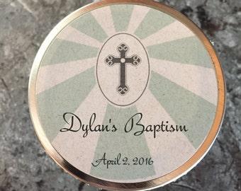 Set of 12-4oz Personalized Mason Jar Soy Candles//Baptism Favors//Christening favors//Holy Communion favors// Confirmation//Graduation Favor