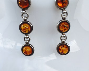 Charming Sterling Silver and Amber Earrings