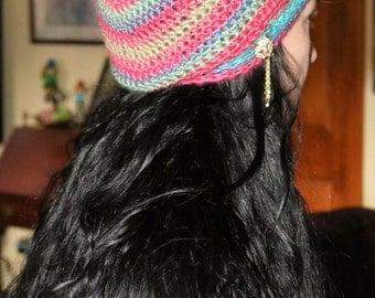 Hand Made Crochet Adult Slouchy Beanie Hat/Tam hat Rasta/Crystal Cat Pin
