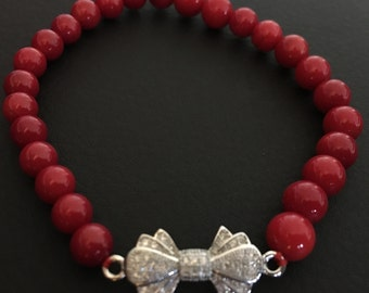 Red Coral Bracelet with Sterling Silver Bow, Perfect Gift For Her, Ready To Ship, FREE SHIPPING