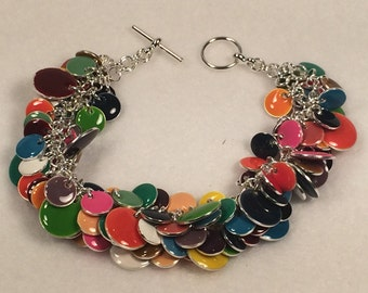 Charm Bracelet with Enameled Steel Round Drops