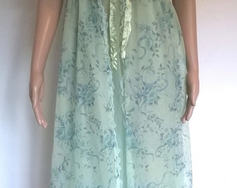 Vintage Peignoir Set 1970's Chiffon Nylon Negligee Green Floral Nightdress and Dressing Gown Vintage Lingerie