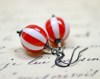 Peppermint Candy Earrings, Red and White Striped Candy Cane Beaded Dangles, Christmas Jewelry, Black Oxidized Sterling Silver