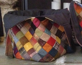 Large Over-the-Shoulder Wool Patchwork Tote (Made to Order)