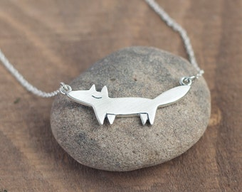 Fox Necklace - Fox pendant - Silver Fox Necklace - Silver Fox Charm - Gift for women