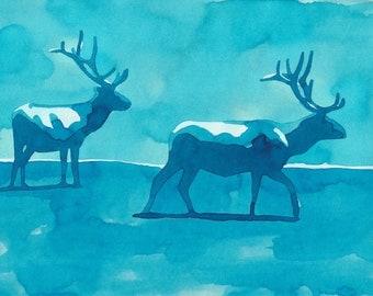 Blue deer, ecoline, original painting, watercolor/on paper