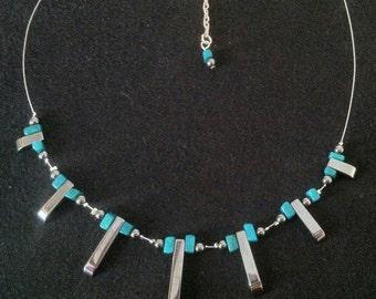 Silver Wire Illusion Style  Hematite Necklace