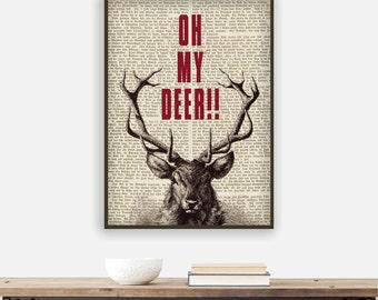 Oh my deer poster art print, deer print, deer poster, deer antlers print