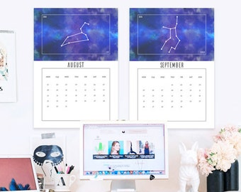 Zodiac Constellations Calendar 2016&2017 -Letter, A4, A3 size- Astronomy and Astrology Horoscope Theme