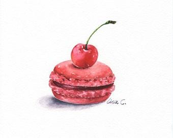 "Watercolor Print  ""Cherry Macaron"" macaron Art , Snack Art, Kitchen Art, Food Illustration Watercolor Art Print"