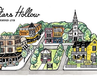 Gilmore Girls Poster - Stars Hollow Town Square print - Gift for Her - Gilmore Girls Print - Gilmore Girls Art