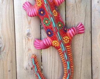 """Handmade Mexican Folk Art """"Pink Iguana"""""""