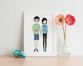 custom portrait, custom couple portrait, wall art, printable art, printable wall art, gift, valentines day, christmas gift, couple gift